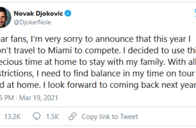 Djoković odustao od Majamija!