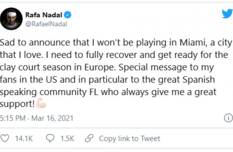 Nadal ne ide u Majami!